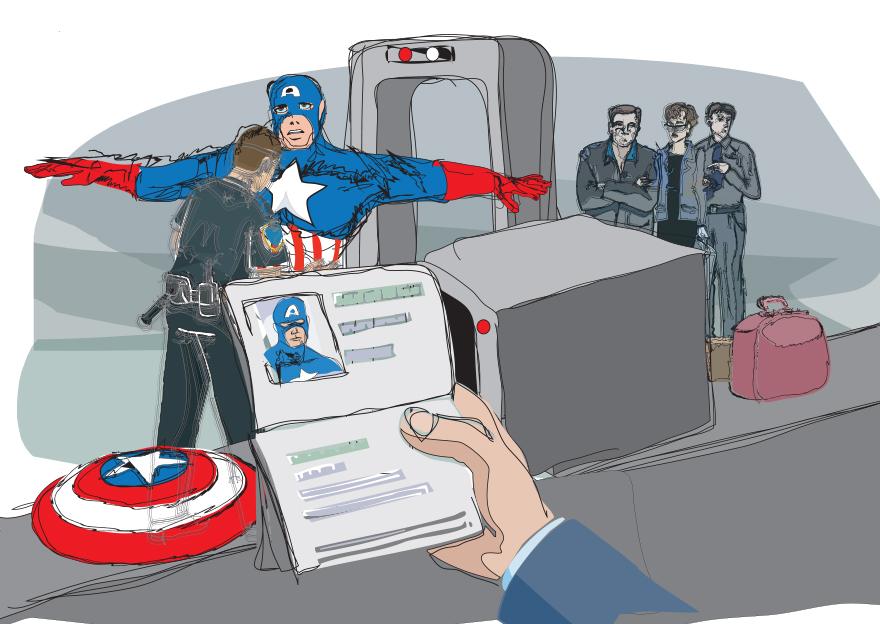 Capitão América viajando
