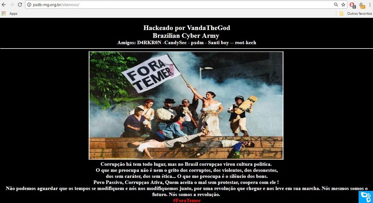 Site do PSDB é hackeado contra o presidente Michel Temer