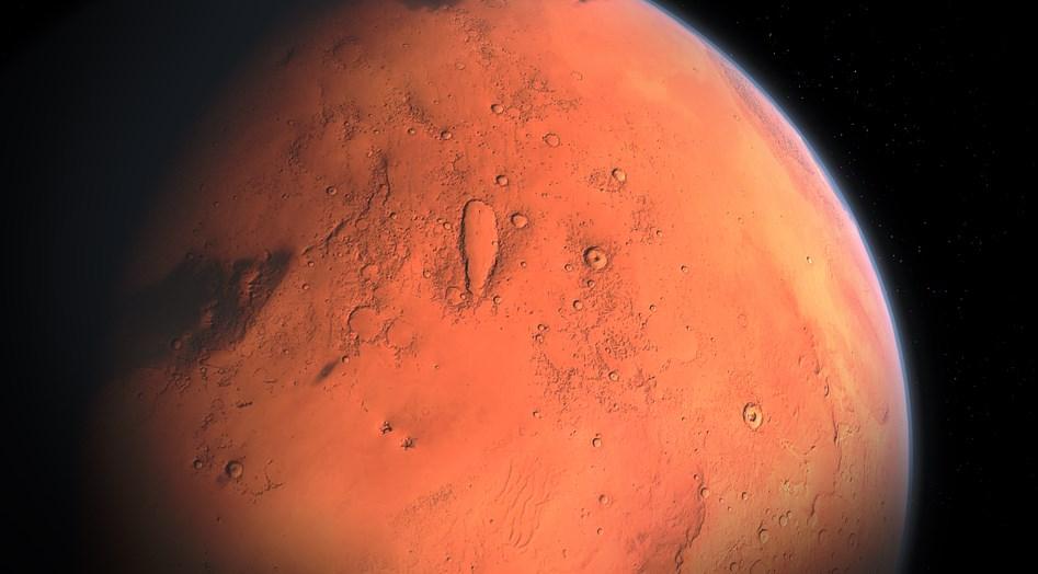 Um planeta vermelho.