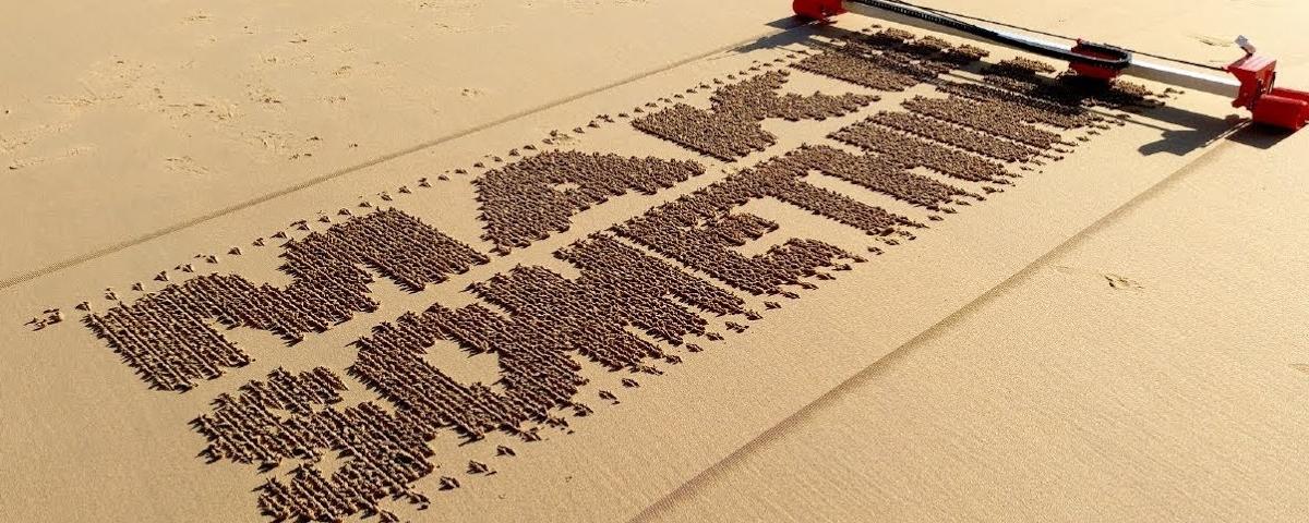 Imagem de: Espanhol cria impressora autônoma para escrever na areia