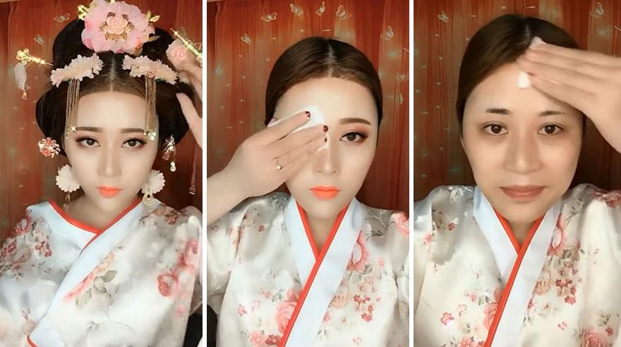 Transformação com maquiagem