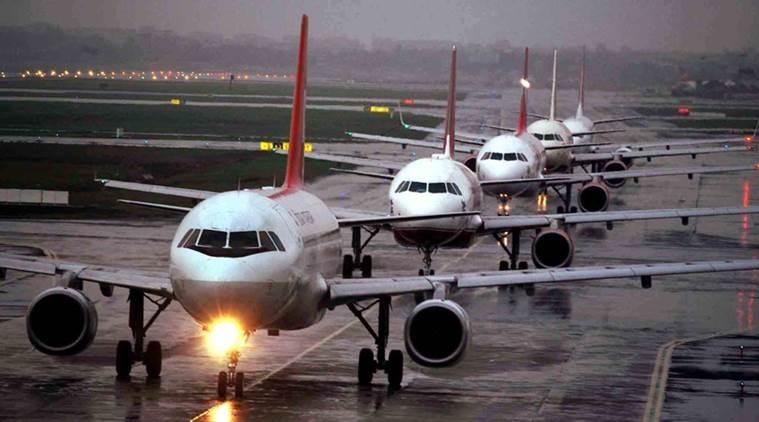 Fila de aviões