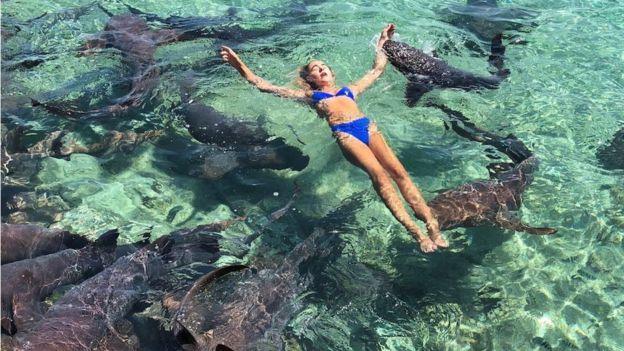 Mulher nadando com tubarões