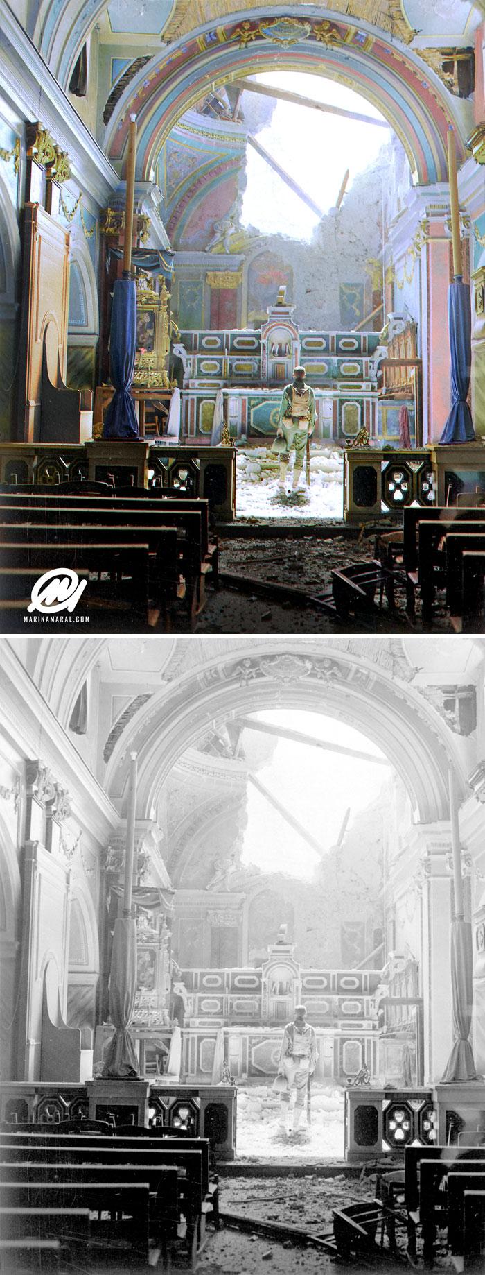 Soldado em igreja destruída