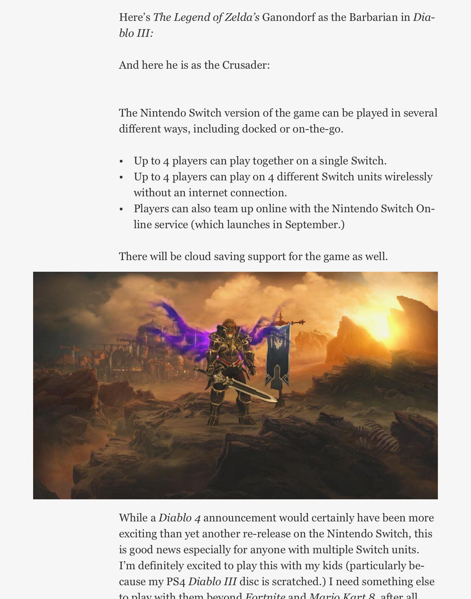 Bomba! Diablo 3 de Switch é vazado e terá conteúdo exclusivo ainda em 2018