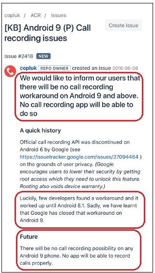 Android 9 0 Pie não deve aceitar apps de gravação de