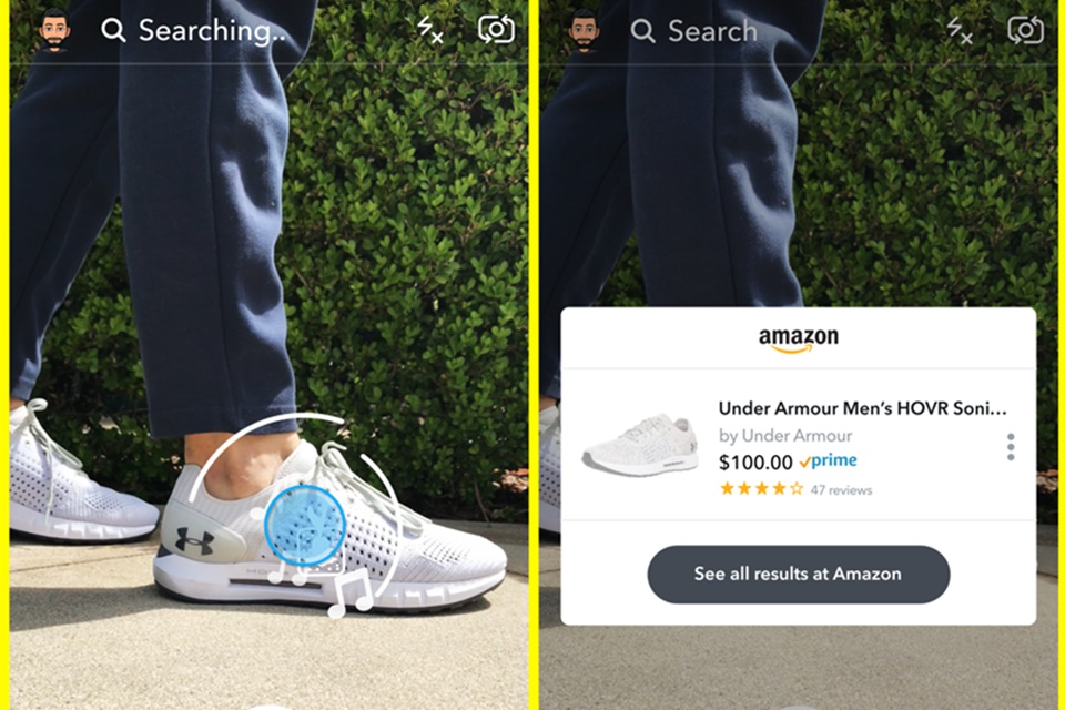 4ba9b10e8a Snapchat testa busca e compras via câmera com integração com a Amazon