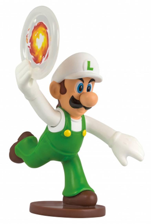 Luigi lançador de discos de fogo! Você coloca o disco na mão do Luigi - que está para cima - e aperta a outra - que está para baixo - e vê quantos itens consegue derrubar no arremeso