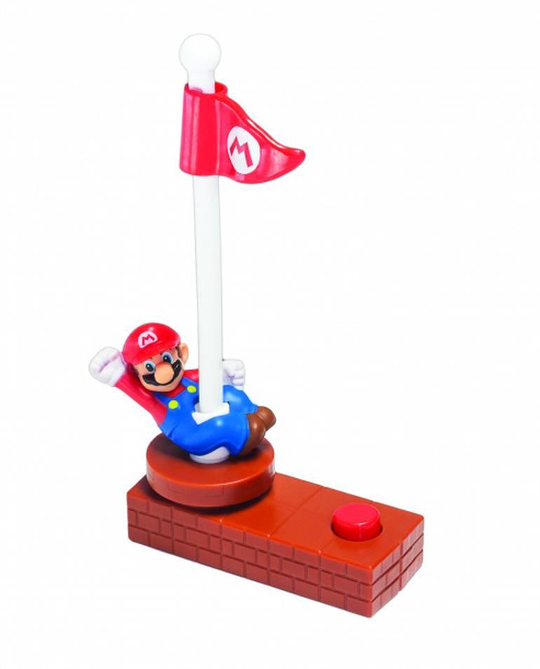 Mario escalador de bandeiras! Escale o mastro para derrubar a bandeirinha apertando repetidas vezes o botão vermelho