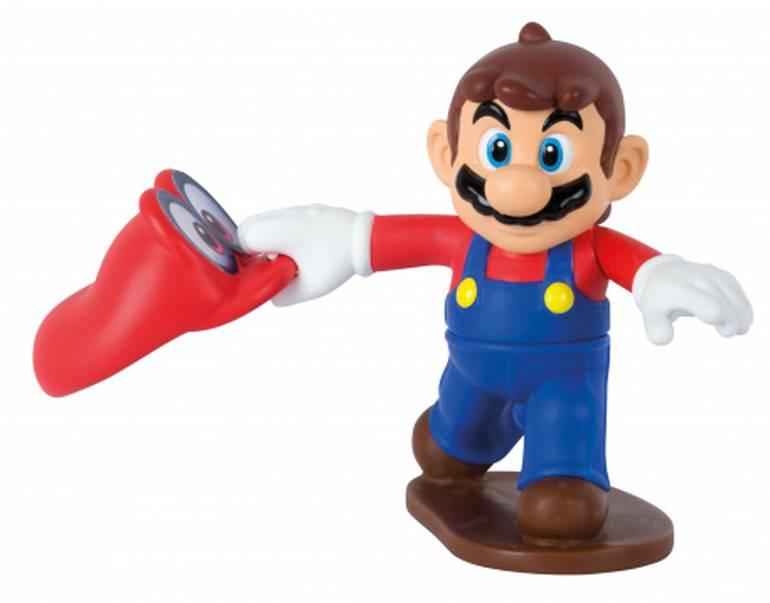 Coloque o chapéu na mão do Mario e gire o corpo dele pra trás para que ele arremesse seu chapéu. O objetivo aqui é quem acerta mais alvos de papel
