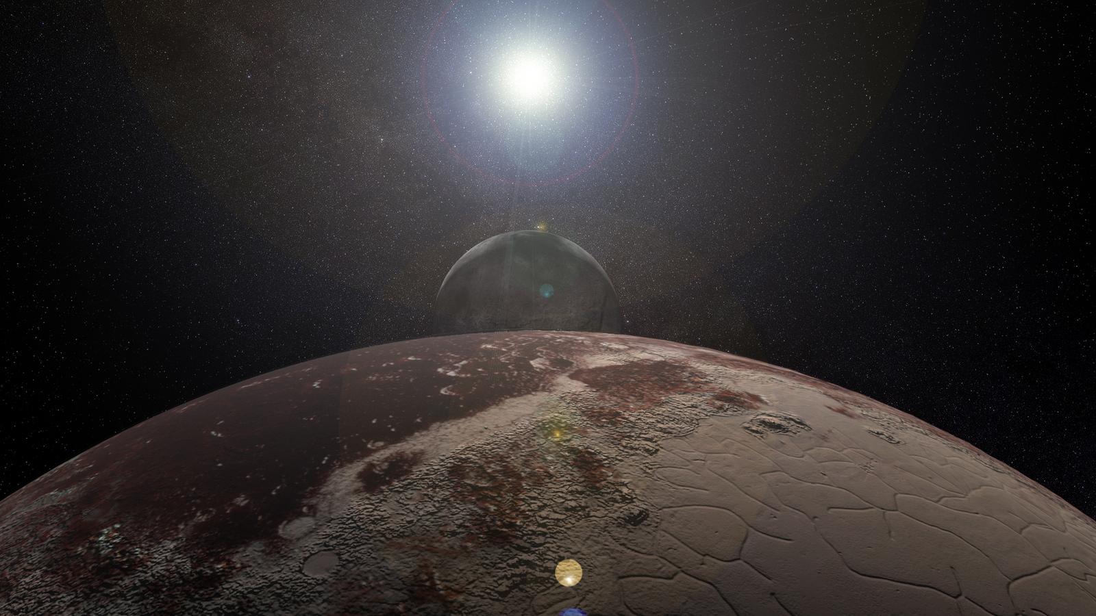 Planeta distante e suas luas