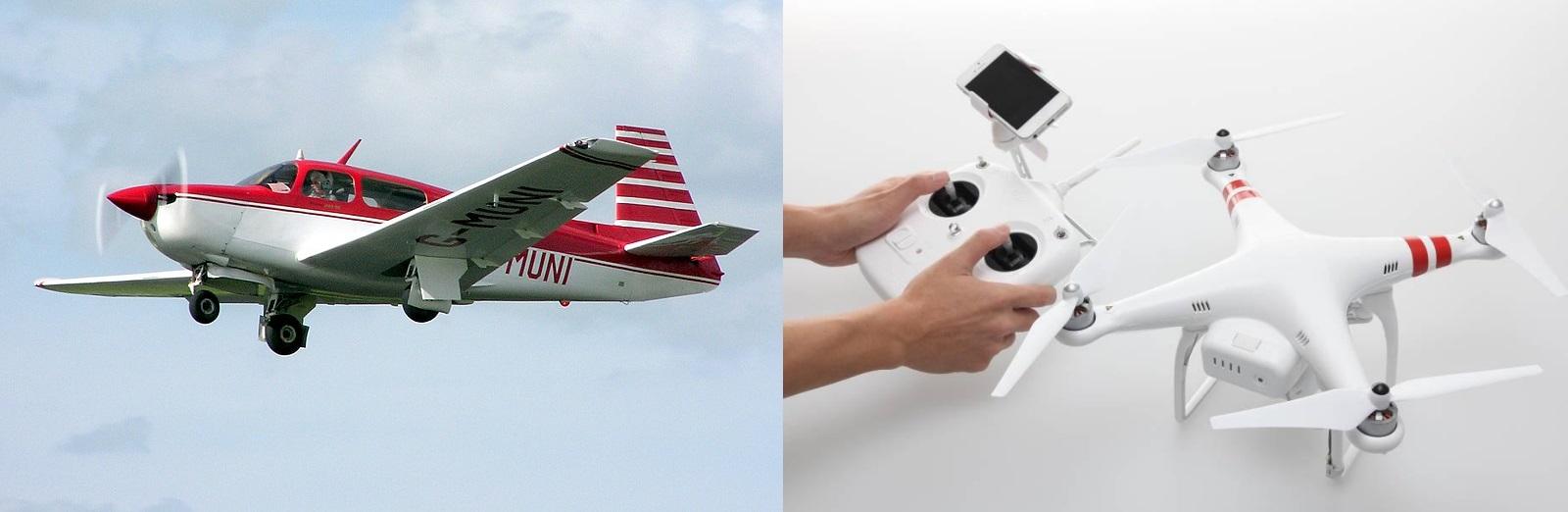 Avião e drone