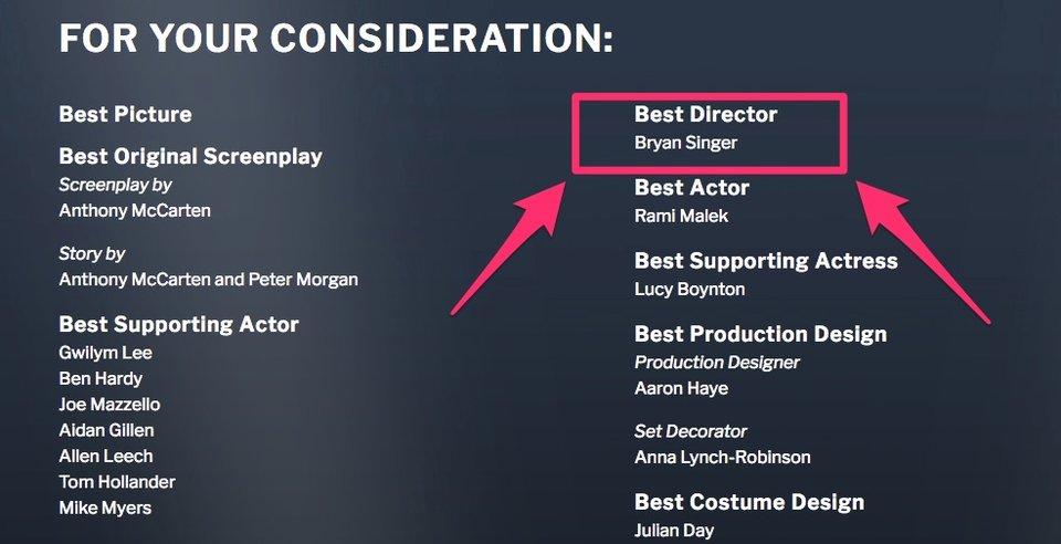 Mesmo com demissão, Fox quer Oscar para Bryan Singer por Bohemian Rhapsody