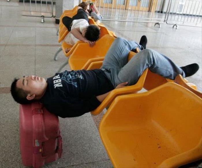 Passageiro cansado