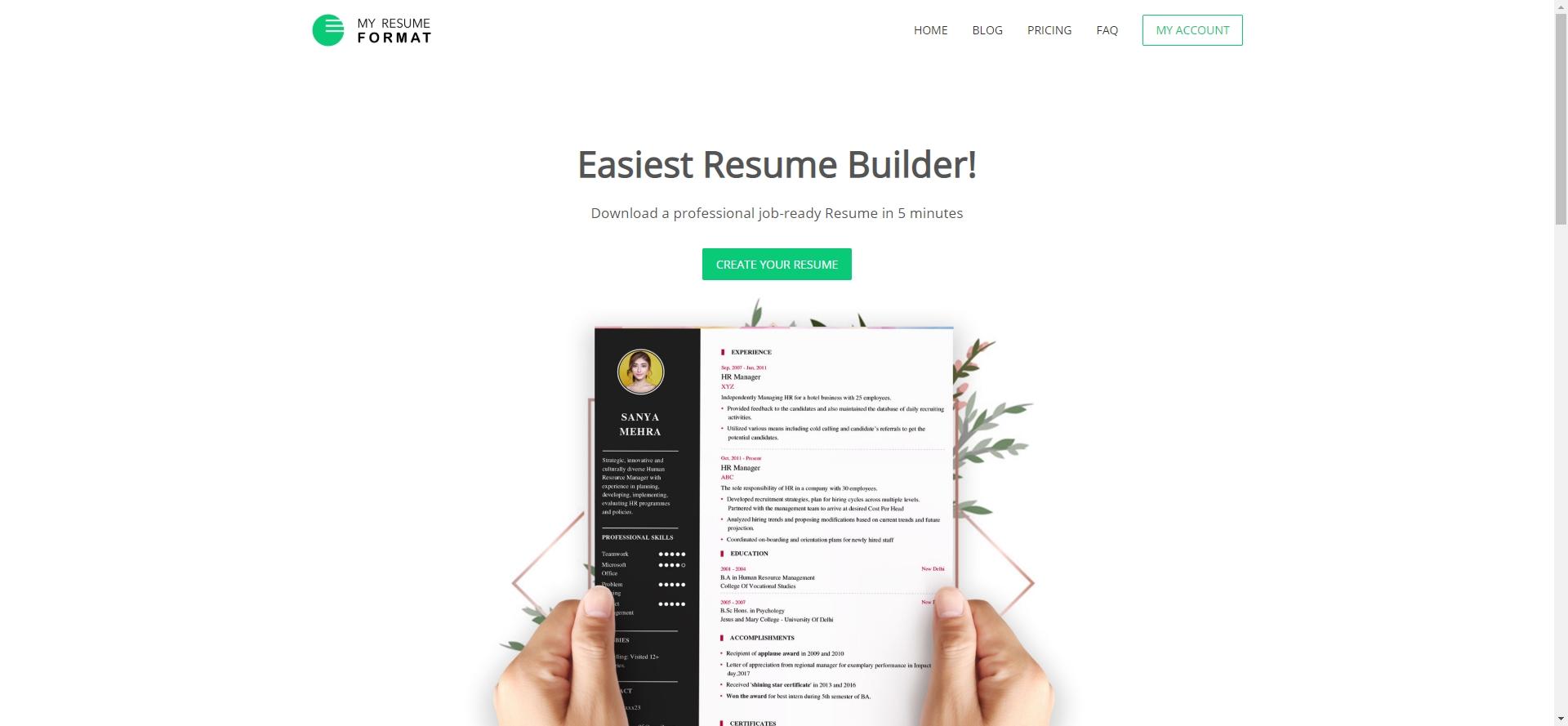 My Resume Format - Imagem 1 do software