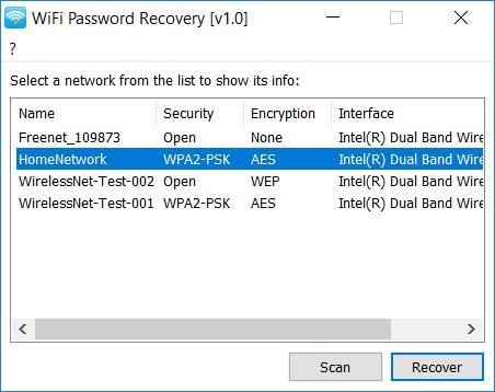 WiFi Password Recovery - Imagem 1 do software