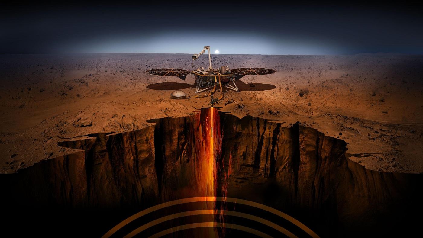 Sonda espacial em Marte