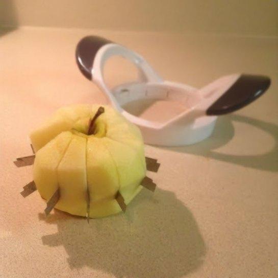 Fatiador de maçã quebrado