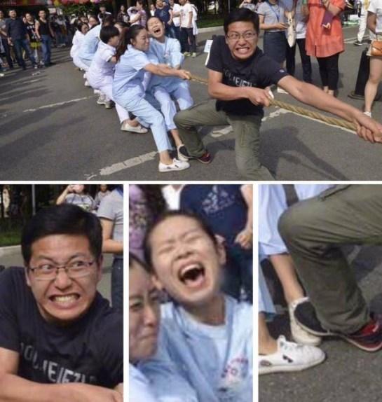 Moça levando pisada no pé
