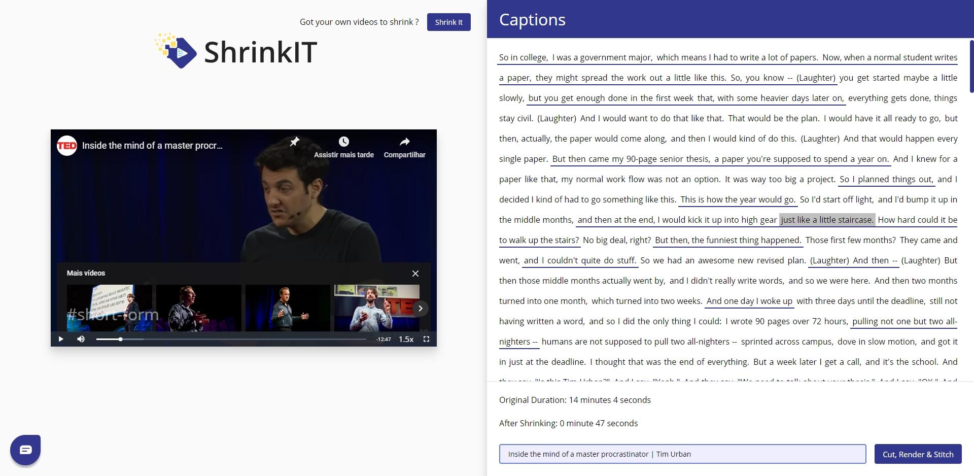 YouTube ShrinkIT - Imagem 1 do software