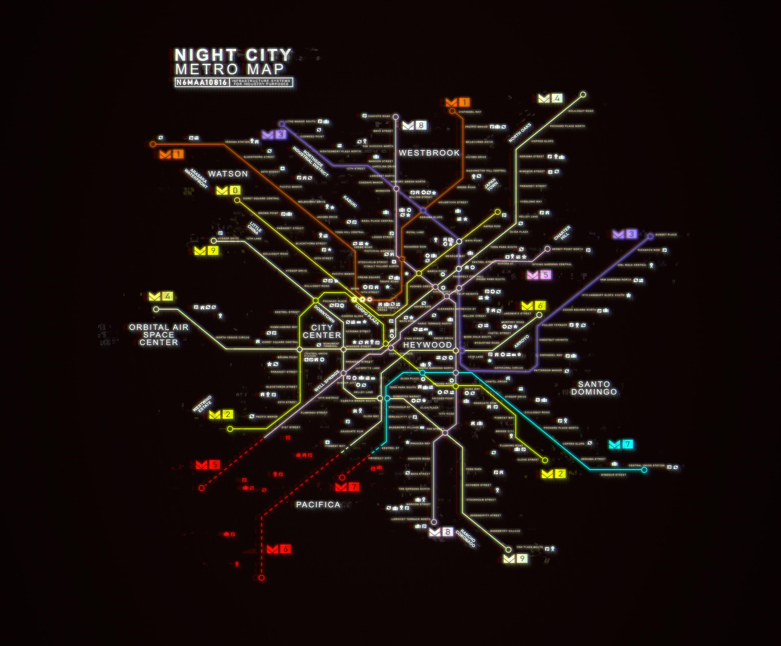 mapa night city cyberpunk 2077