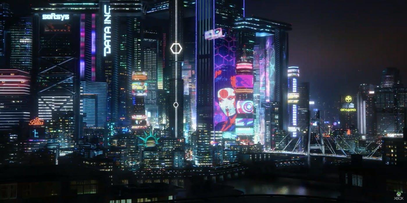 night city cyberpunk de noite