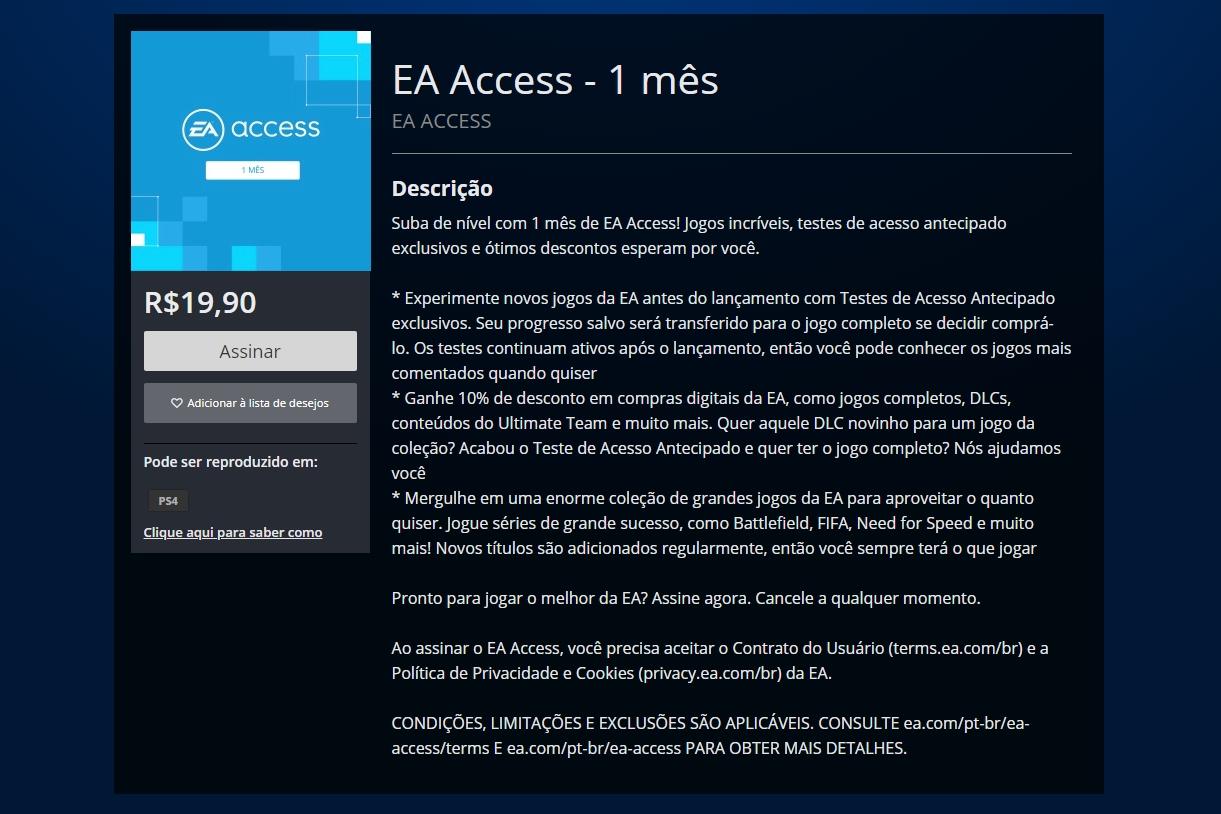 EA Access já chegou ao PS4, mas a lista de jogos é menor que a do Xbox One