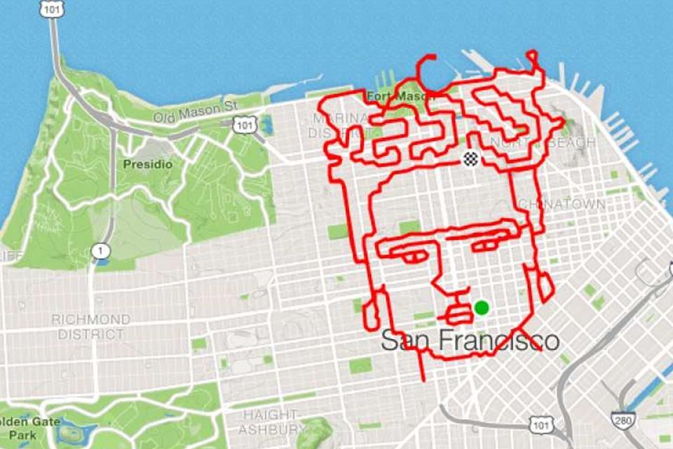 Corredor usa app para desenhar 'trajeto Frida Kahlo' em San Francisco