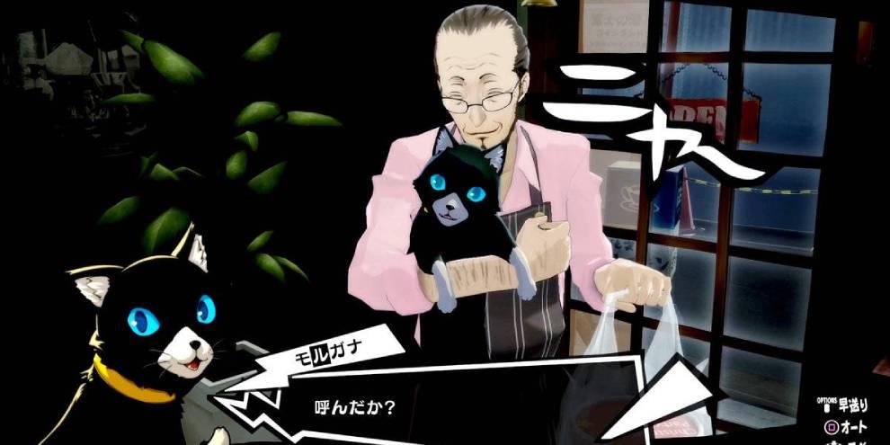 Captura de tela de Morgana e Sojiro em Persona 5 Royal