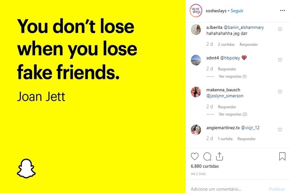 Snapchat invade Instagram com campanha sobre 'amigos de verdade'