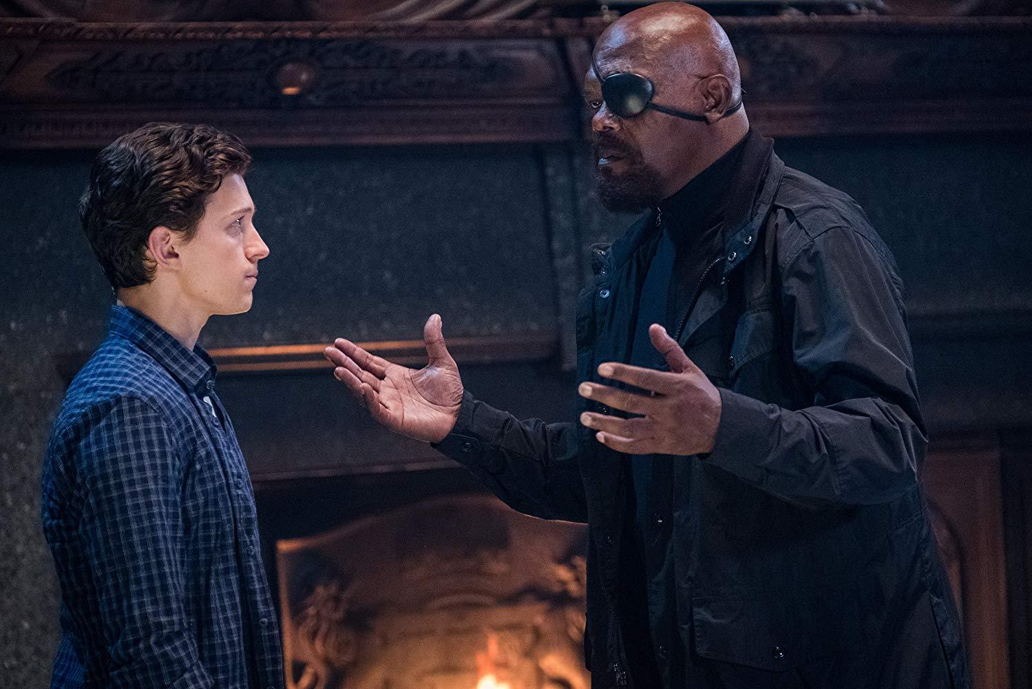 Samuel L. Jackson e Tom Holland em Homem-Aranha: Longe de Casa (Fonte: IMDb/Reprodução)