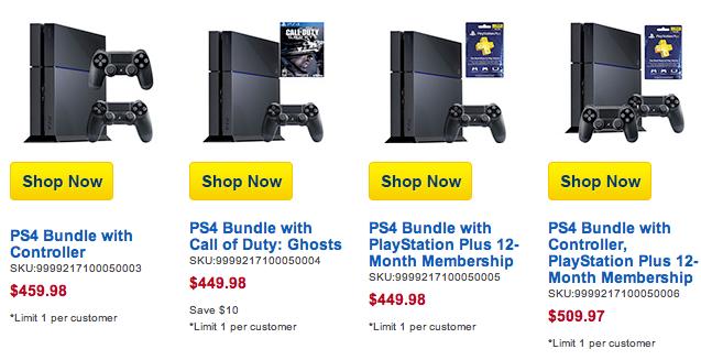 Walmart, Best Buy e outras redes de comércio norte-americanas disponibilizaram bundles com jogo, controle extra e assinatura anual da PS Plus.