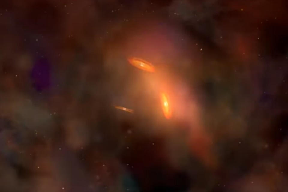 3 buracos negros supermassivos são descobertos em rota de colisão