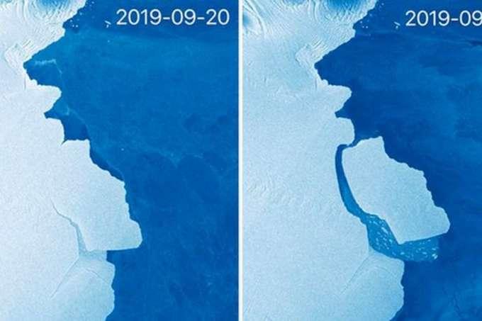 Foto do satélite europeu mostra o desprendimento do bloco de gelo. (Fonte: Copernicus/Divulgação)
