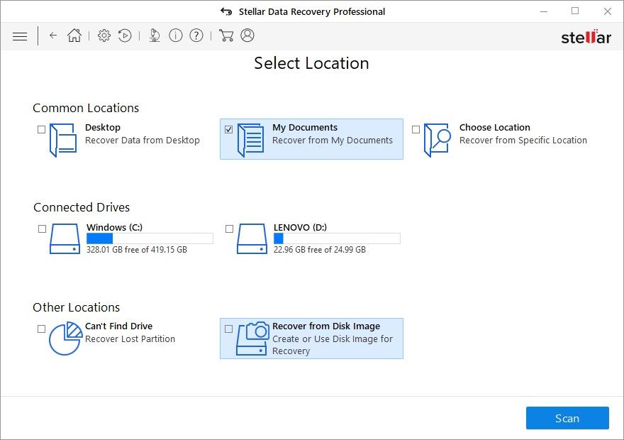 Stellar Data Recovery Professional for Windows - Imagem 2 do software