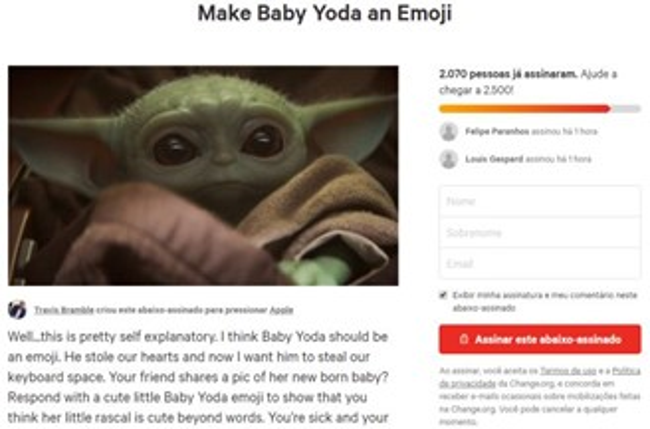 Fãs de Star Wars pedem emoji do Baby Yoda em abaixo-assinado