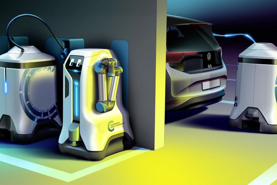 Robô autônomo da Volkswagen vai recarregar carro elétrico onde ele estiver