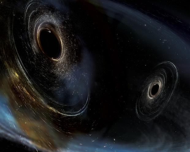 Ilustração de dois buracos negros