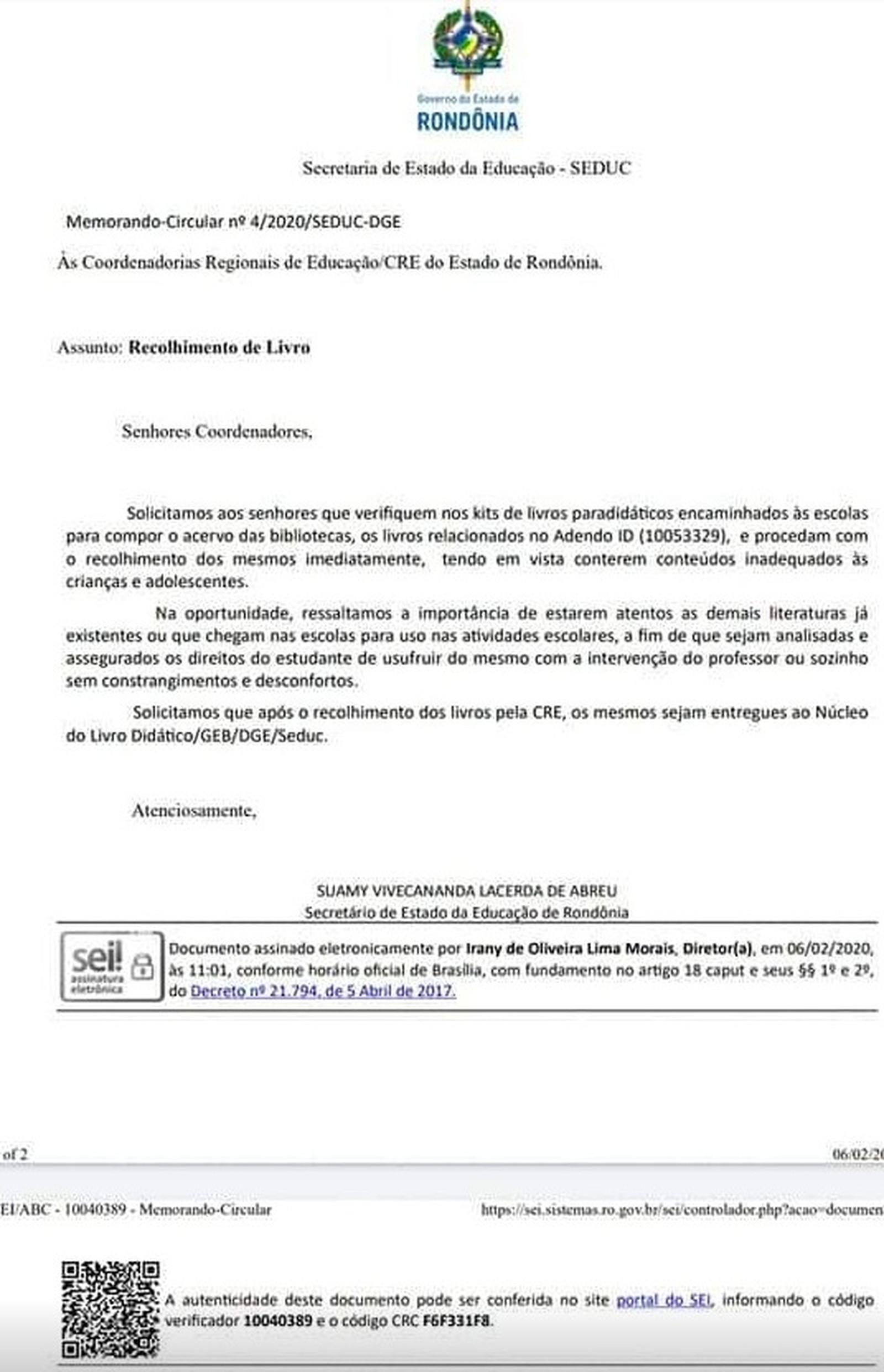 https://g1.globo.com/ro/rondonia/noticia/2020/02/06/documento-da-secretaria-de-educacao-de-ro-manda-recolher-de-escolas-macunaima-e-mais-42-livros-secretario-diz-ser-rascunho.ghtml