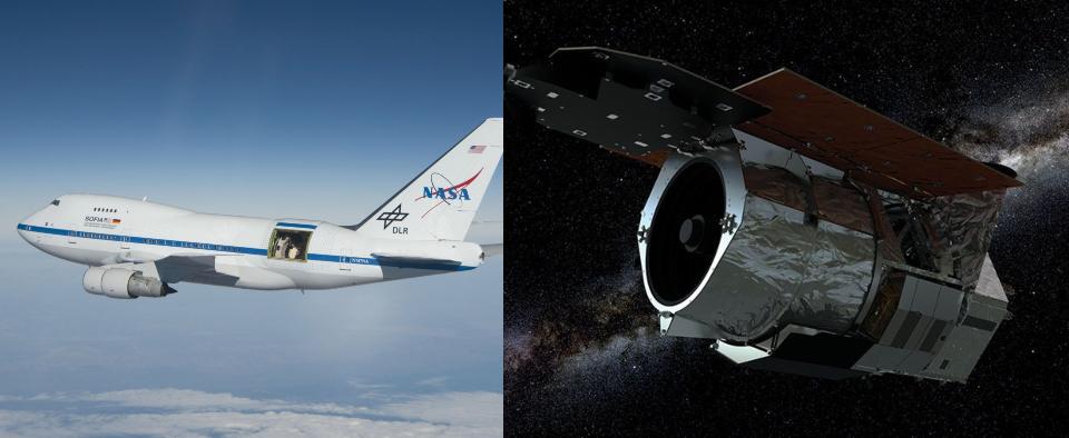 SOFIA (esq.) e WFIRST (dir.) (Fonte: NASA/Divulgação)