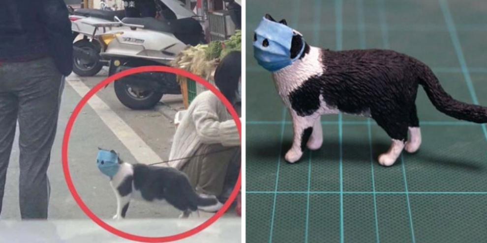Escultura de gato se protegendo do coronavírus. (Fonte: Meetissai/Twitter/Reprodução)