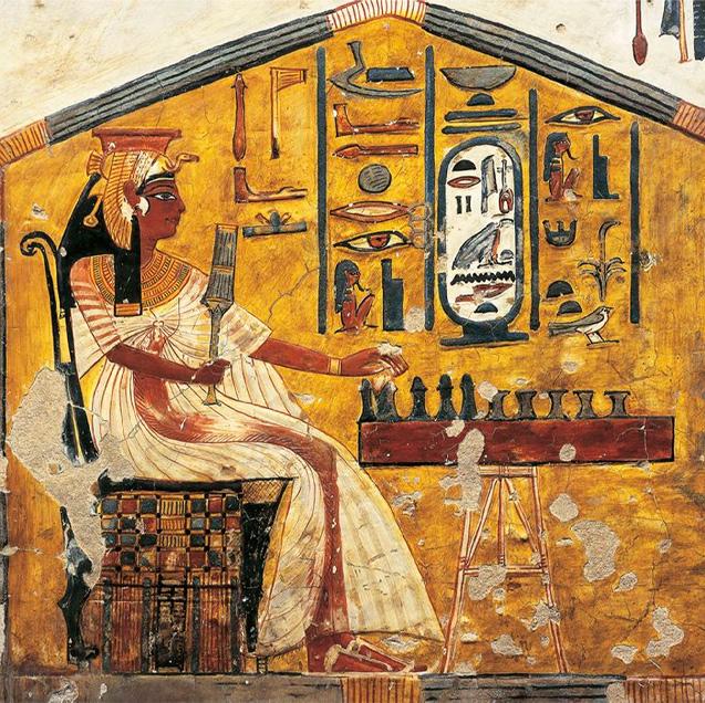 Pintura na tumba da rainha Nefertari que representa a rainha jogando Senet