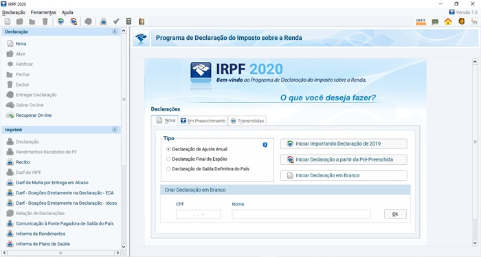 IRPF 2020 - Imagem 1 do software