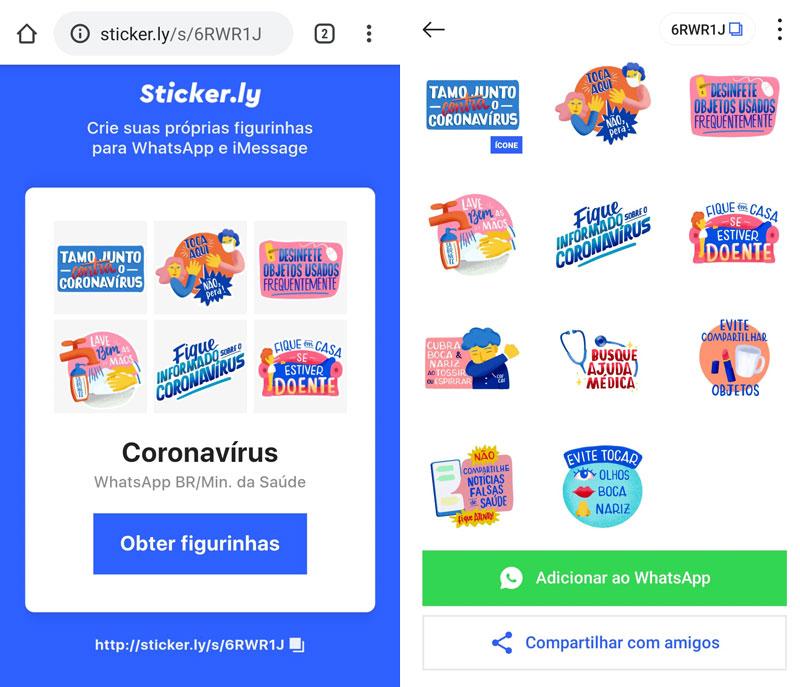 A instalação exige o aplicativo de figurinhas Sticker.ly
