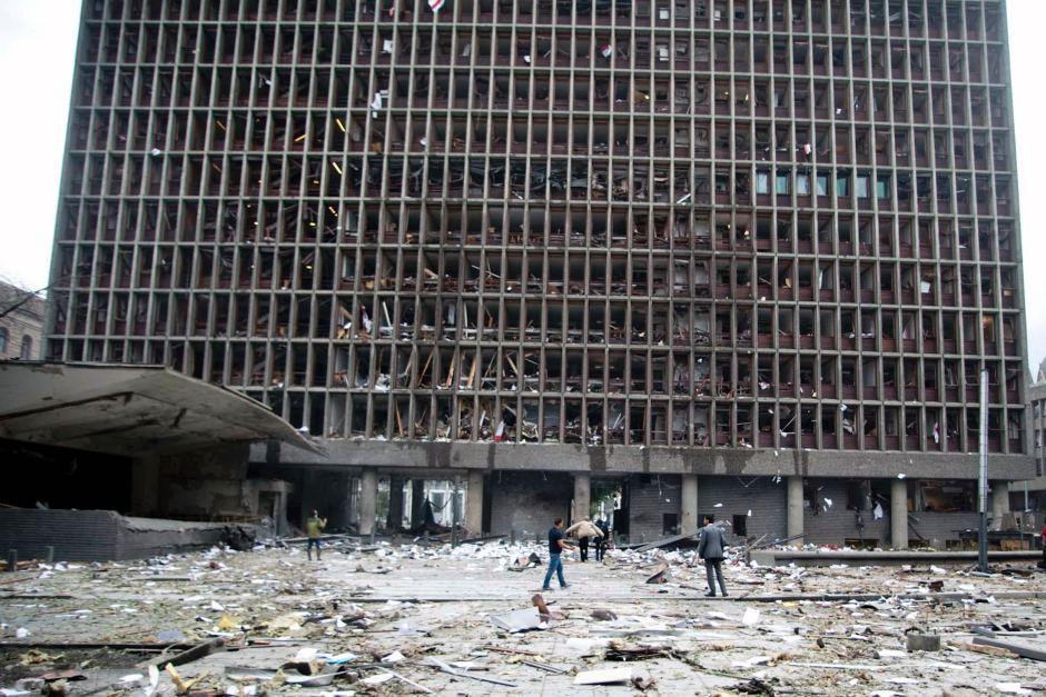 (Um dos prédios destruídos pela explosão em Oslo)