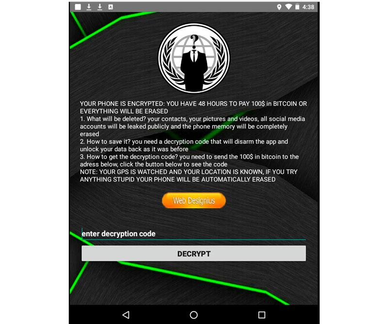 Tela do aplicativo trazendo ameaças ao usuário