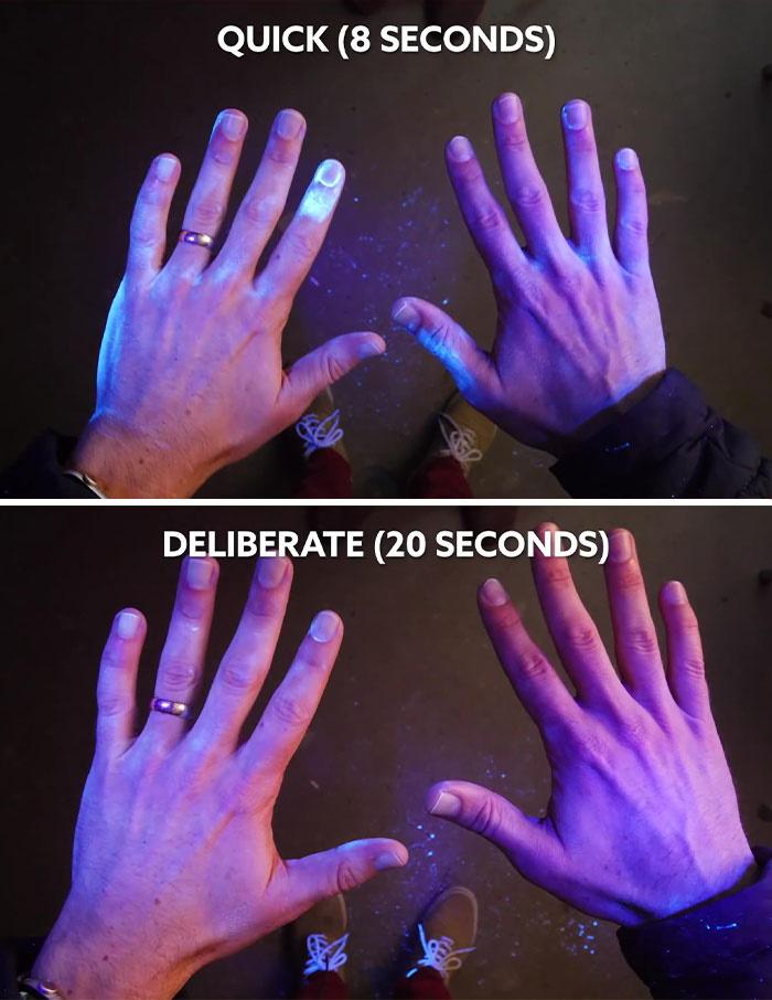 A mão deve ser lavada por pelo menos 20 segundos