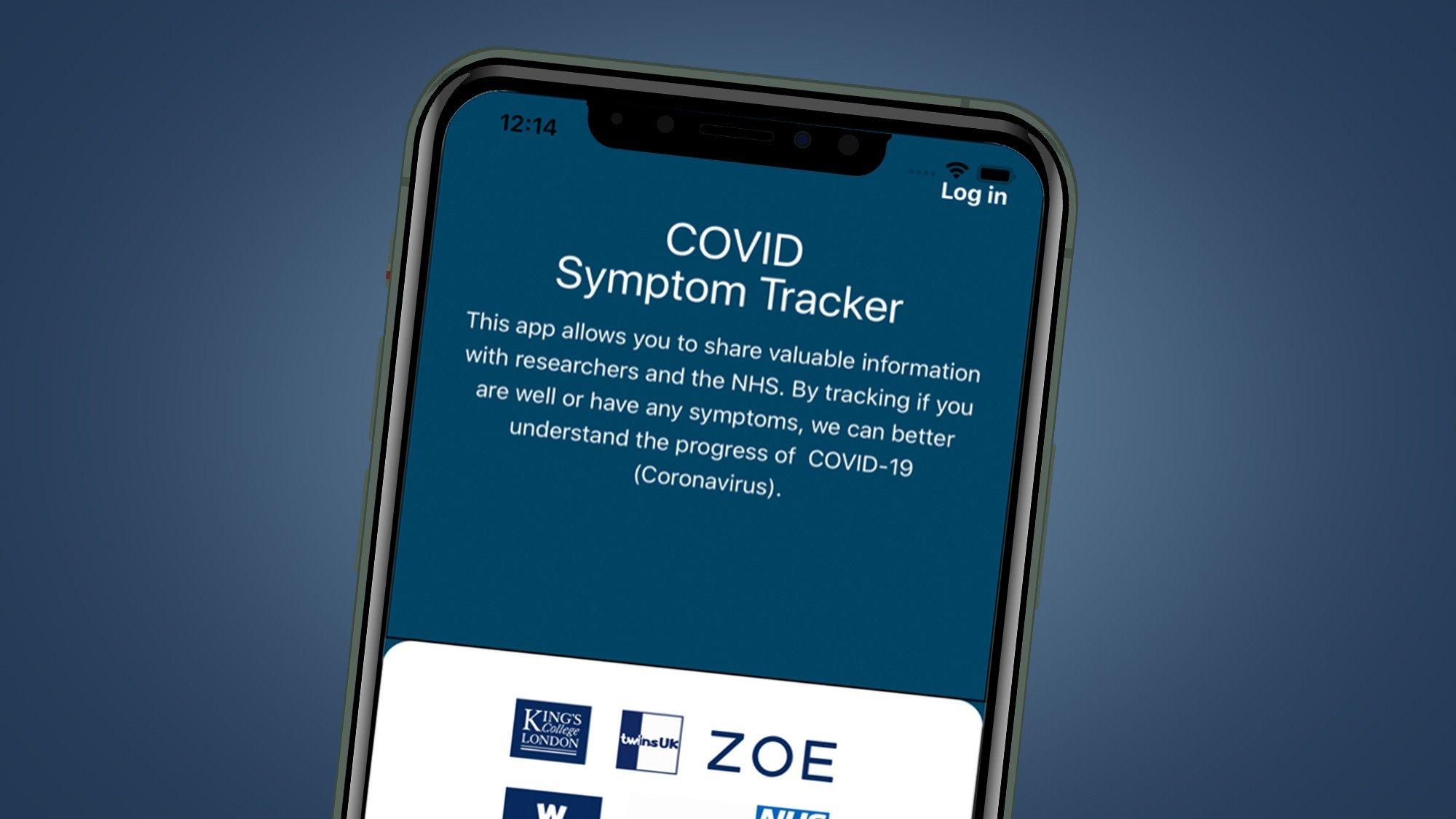 Interface do app Covid Symptom Tracker.