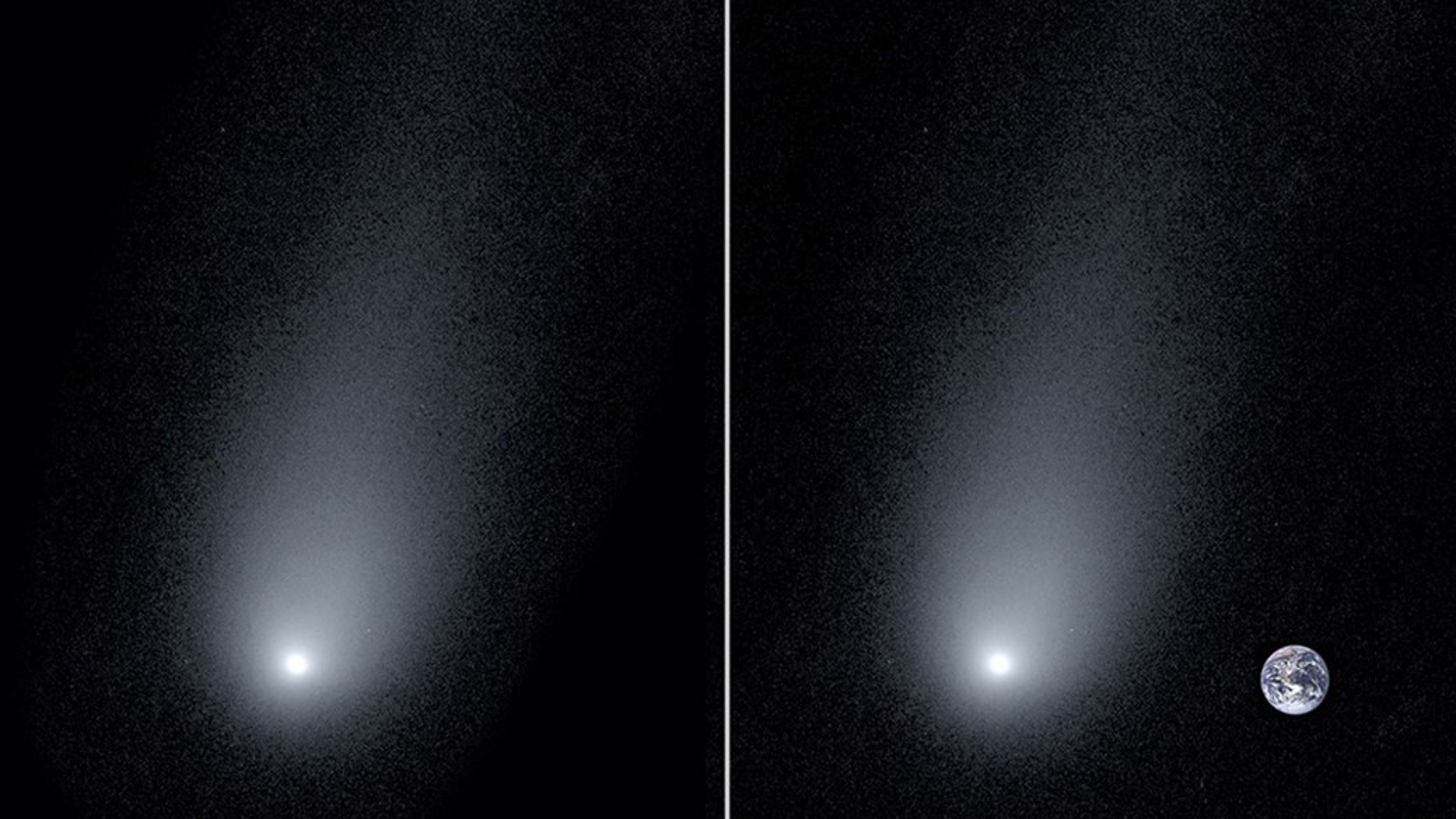 Imagem do cometa interestelar Borisov e uma comparação de seu tamanho com o da Terra