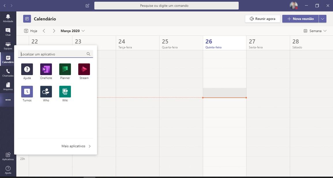 Calendário é integrado com o Outlook